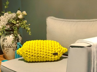 Hand-knit Lemon Pillow